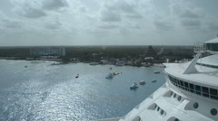 Caribbean Coast line from up high ship in foreground Stock Footage