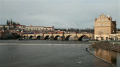 VLTAVA RIVER & CHARLES BRIDGE, PRAGUE, CZECH REPUBLIC Stock Footage