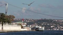 BOSPHORUS BRIDGE & FERRIES ISTANBUL TURKEY Stock Footage