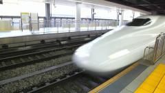 Bullet train arrival to station platform, Tokyo, Japan - stock footage