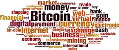 Stock Illustration of Bitcoin word cloud