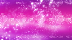 Pink Hearts and Particles Stock Footage