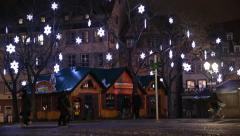 The famous Christmas Market in Strasbourg at night in France. Stock Footage