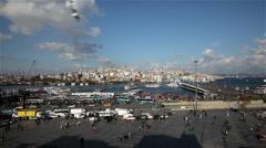 GOLDEN HORN & BEYOGLU FACADE, EMINONU, ISTANBUL, TURKEY Stock Footage