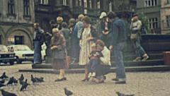 Poland 1984: people visiting a town center Stock Footage