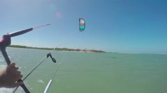 FIRST PERSON VIEW: Kitesurfing in flat lagoon - stock footage