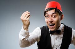 Man wearing traditional turkish hat fez Stock Photos