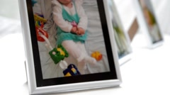 Framed picture of a baby Stock Footage
