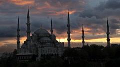 BLUE MOSQUE, SULTANAHMET CAMII, ISTANBUL, TURKEY Stock Footage