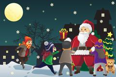 Santa Claus giving out Christmas presents to kids Stock Illustration