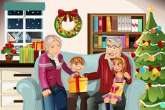 Grandparents and grandchildren on Christmas time - stock illustration