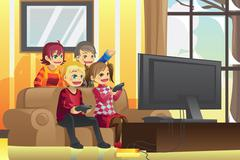 Kids playing video games - stock illustration