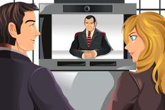 Business people video conferencing Piirros