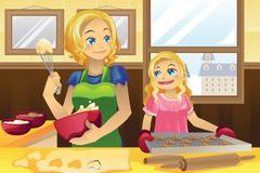 Mother daughter baking cookies - stock illustration