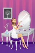 Beautiful girl applying makeup - stock illustration