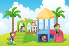 Children in playground Stock Illustration