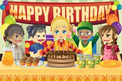 Kids birthday party - stock illustration