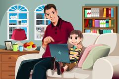 Father and son using computer - stock illustration