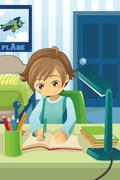 Studying kid Stock Illustration