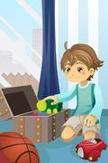 Boy cleaning up his toys - stock illustration