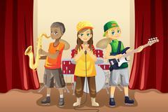 Little kids in music band Stock Illustration