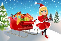 Christmas girl pulling sleigh - stock illustration