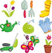 Spring gardening icons Stock Illustration