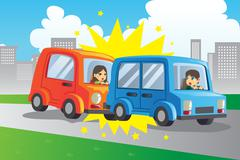 Car accident - stock illustration