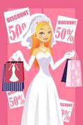 Shopping bride - stock illustration