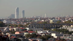 VALENS AQUEDUCT FROM GALATA TOWER ISTANBUL TURKEY - stock footage