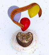 Birthday decorative cake and balloons celebration background on isolate white Stock Illustration