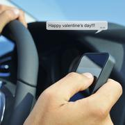 Happy valentines day in a text message Stock Photos