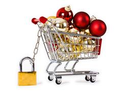 Secure Christmas shopping isolated concept Stock Photos