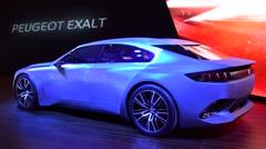 Peugeot Exalt saloon concept car - stock footage