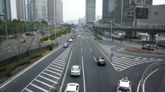 Street view of Shanghai Lujiazui financial district Stock Footage