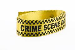Crime scene banner rolled up isolated on white Stock Photos
