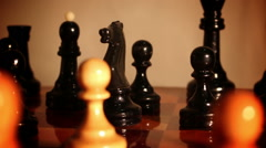 Chess pieces on a chess board . Stock Footage