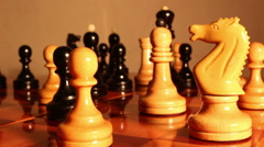 chess pieces on a chess board . - stock footage