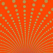 Gold Discs on Deep Orange Background - stock illustration
