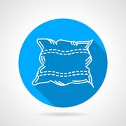 Flat round vector icon for pillow - stock illustration