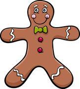 gingerbread man cartoon illustration - stock illustration