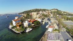 Anadolu Hisari Fortress and Goksu River. Aerial Stock Footage
