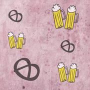 Beer and snack preztel pattern background - stock illustration
