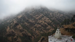 1080p India Vaishno Devi Mountains People Scenic Clouds Religious Temple Stock Footage