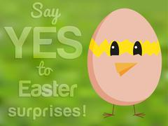 Funny Easter card with chicken looking from hatched egg and text Stock Illustration
