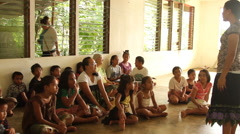 Children Learn at Community Group on Pohnpei Stock Footage