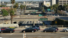 Traffic on Busy Downtown Streets - Los Angeles, California - stock footage
