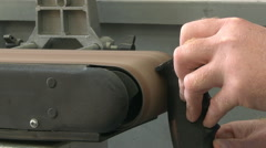 Man using a linisher / belt grinder Stock Footage