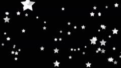 White Shimering Stars Falling on a Black Background Stock Footage