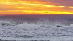 Orange Sunset Pacific Ocean Southern California 4k Stock Footage